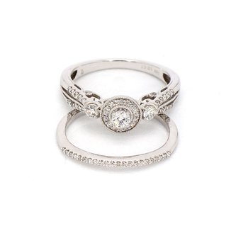 .50 Carat Diamond Halo Engagement And Wedding Ring Set