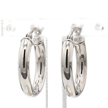 Sterling 3x18mm Round Hoop Earrings