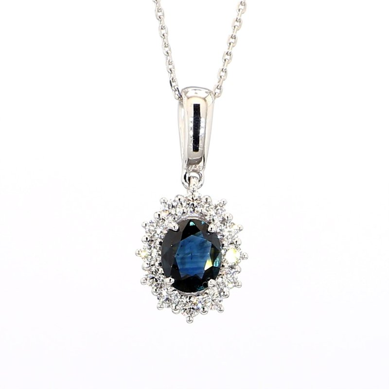 1ct Oval Sapphire and Diamond Halo Necklace