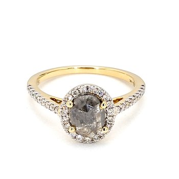 Oval Halo Rose Cut Salt & Pepper Diamond Engagement Ring