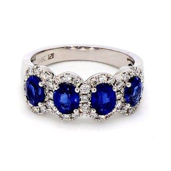 2 1/5ct Blue Sapphire & Diamond Halo Ring
