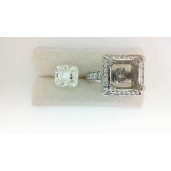 3 2/3ct Diamond Halo Engagement Ring