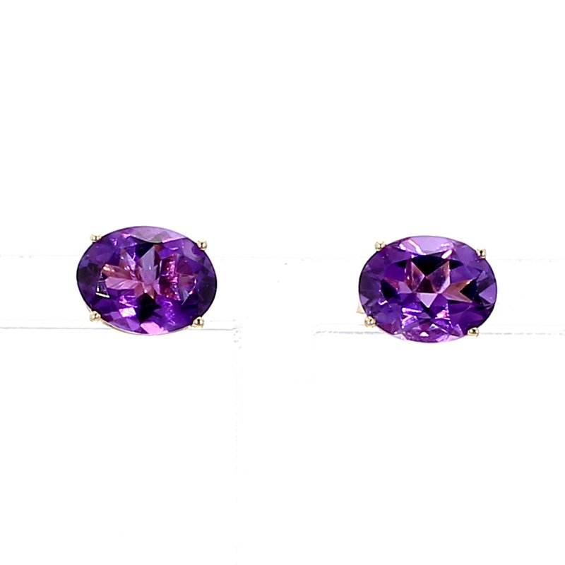 14KT Oval Royal Amethyst Stud Earrings