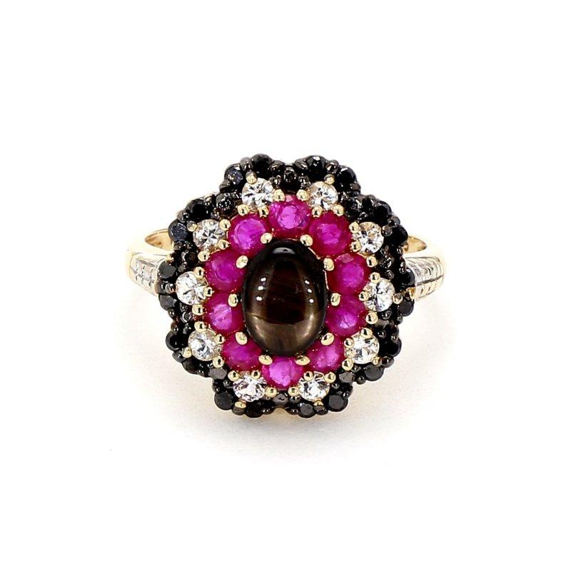 2 9/10ct Ruby, Sapphire, Topaz & Diamond Estate Ring