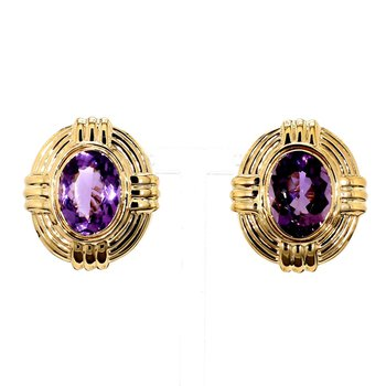 8ct Amethyst Bold Gold Lever Back Earrings