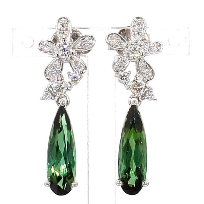3.98ct Floral Inspired Tourmaline & Diamond Earrings