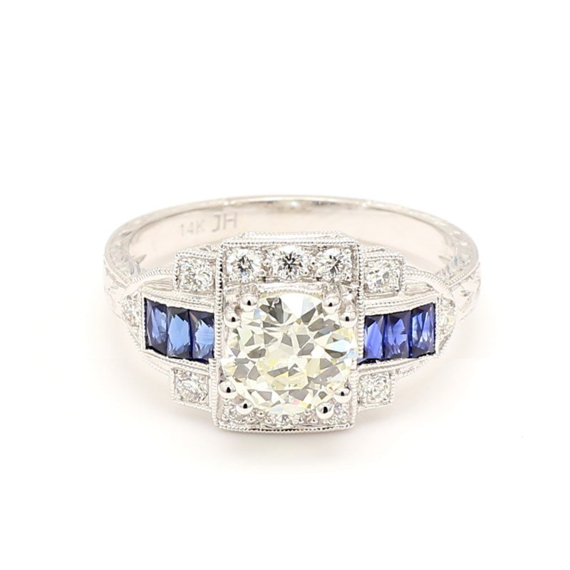 Vintage Design Diamond and Sapphire Engagement Ring