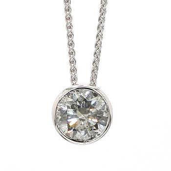 1.78 Carat Salt And Pepper Diamond Bezel Pendant