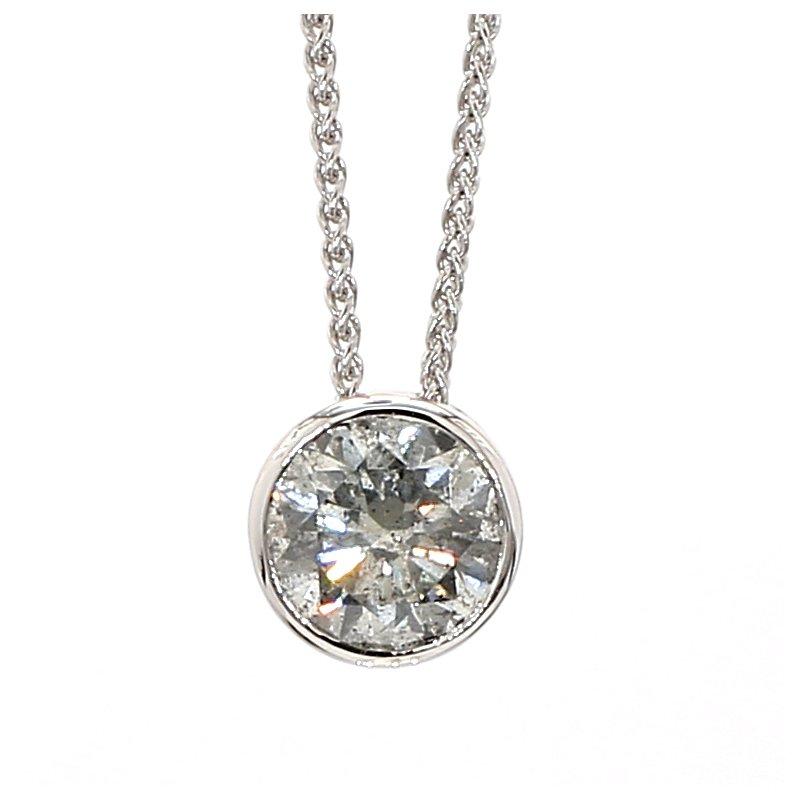 1.78 Carat Salt And Pepper Diamond Bezel Pendant