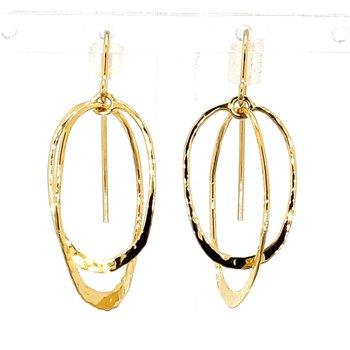 14 Karat Yellow Gold Hammered Double Hoop Earrings