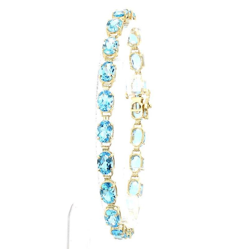 "10.0ct Oval Blue Topaz Tennis Bracelet 7.5"""