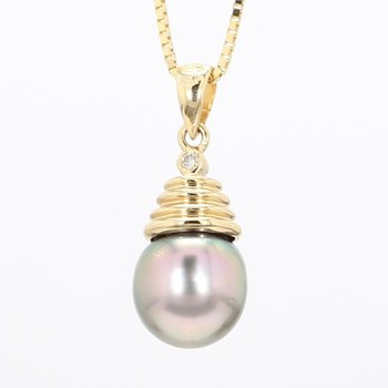 Grey Pearl And Diamond Pendant