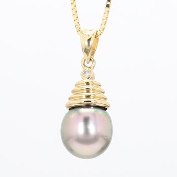 10mm Grey Pearl And Diamond Pendant