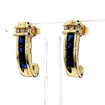 3/4CT Blue Sapphire & Diamond Estate J Hook Earrings