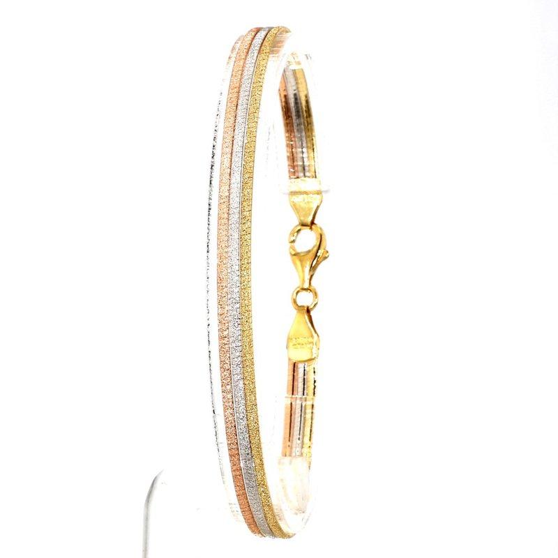 14KT White,Yellow & Rose Gold Mesh Bracelet