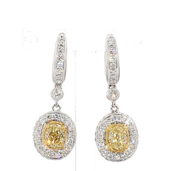 2.31ct Fancy Natural Yellow Diamond Halo Earrings