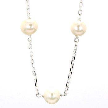 Freshwater White Cultured Pearl Silver Plated Necklace