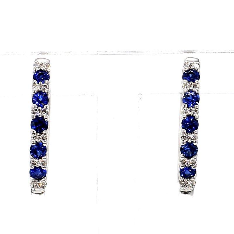 1/3ct Blue Sapphire & Diamond Hoop Earrings