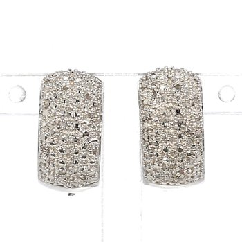 .07ct Pave Diamond Hoop Earring