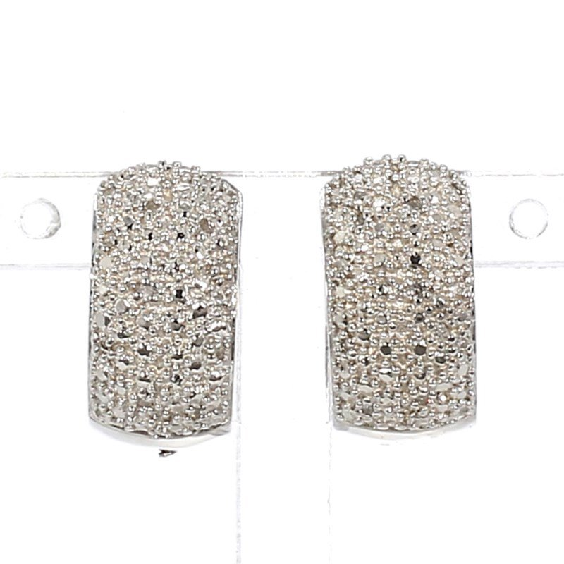 .07ct Pave Diamond Hoop Earring