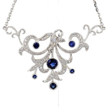 Sapphire & Diamond Vintage Recreated Necklace 18""