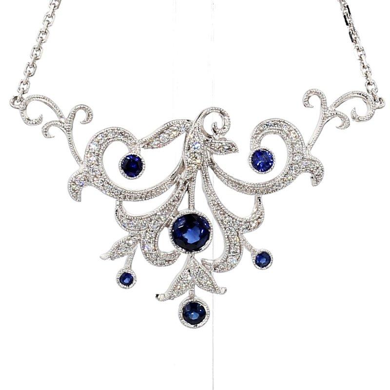 "Sapphire & Diamond Vintage Recreated Necklace 18"""