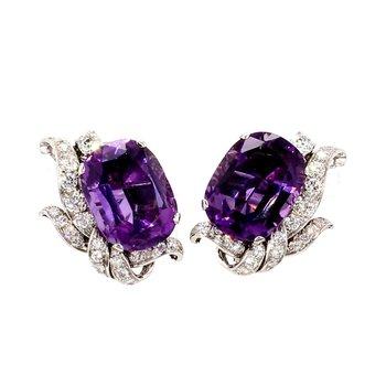 14 3/4ct Platinum Amethyst and Diamond Circa 1920's Earrings