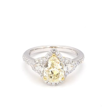 Yellow Diamond 3 Stone Halo Engagement Ring