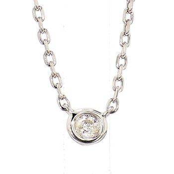 .05 Carat Diamond Sterling Silver Bezel Necklace