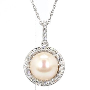 9.5-10MM Akoya Pearl And .34 Carat Diamond Halo Pendant