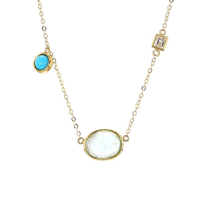 3.27 Carat Paraiba, Turquoise, Diamond And Moonstone Necklace