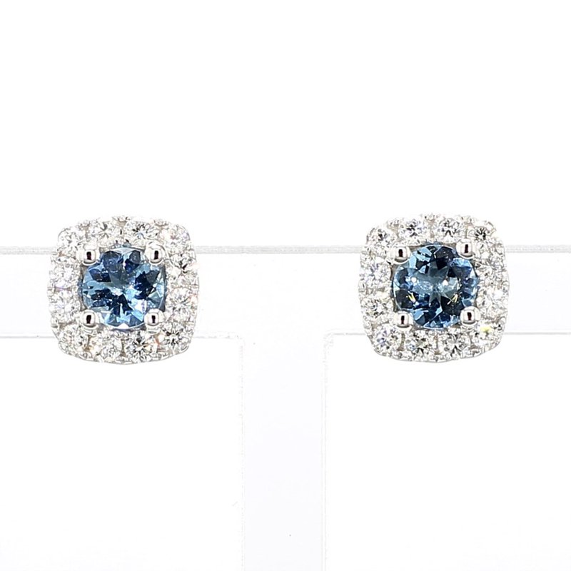 1ct Aquamarine & Diamond Halo Earrings