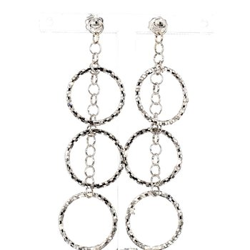 14KW Gold Circle Style Drop Earrings