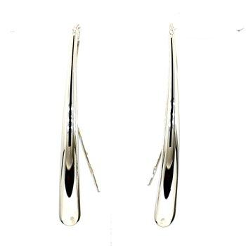 14KT White Gold T-Drop Wire Earrings