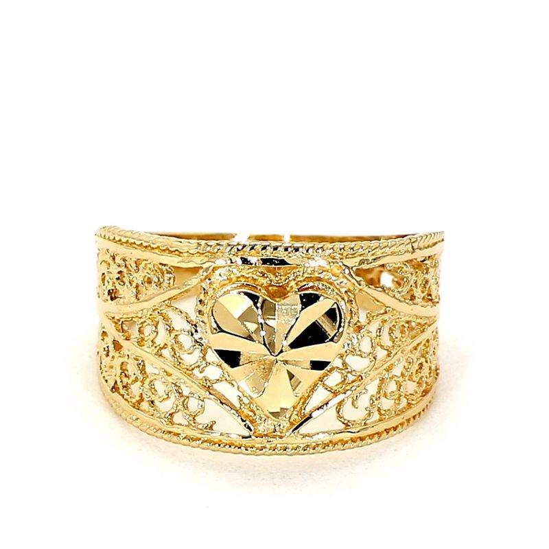 14 Karat Yellow Gold Heart Design Filigree  Ring