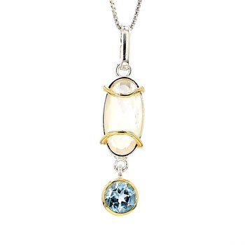Silver & 22K Gold Drop Style Necklace