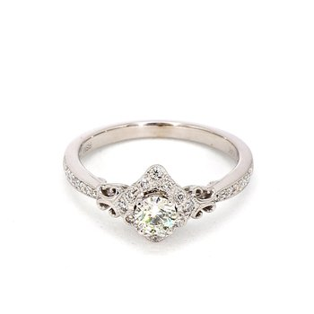 1/2ct Diamond Filigree Halo Engagement Ring