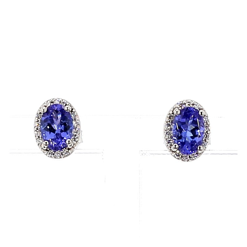 1 1/10ct Tanzanite & Diamond Halo Stud Earrings