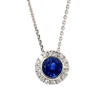 Sapphire & Diamond Halo Necklace