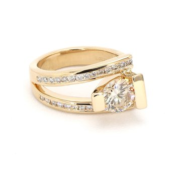 2 Carat Bezel Set Modern Diamond Ring