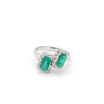 1 2/3ct Emerald & Diamond Estate Ring