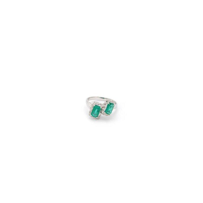1 2/3ct Emerald & Diamond Estate Ring