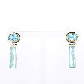 SS & 22KT Gold Multi Gemstone Vermeil Earrings