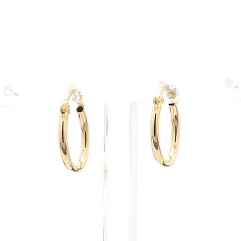 14 Karat Yellow Gold Huggie Hoop Earring 13mm x 1.5mm