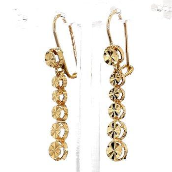 14KY Gold Fan Designed Disk Drop Earrings