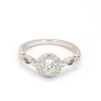 .55 Carat Diamond Vintage Halo Engagement Ring