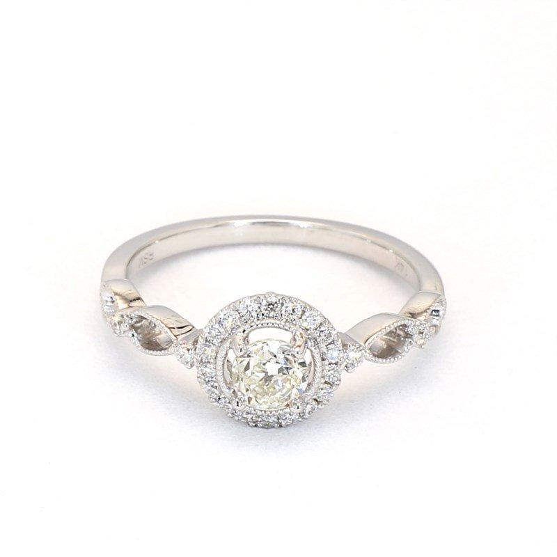 .55 Carat Diamond Vintage Halo Engagement Ring