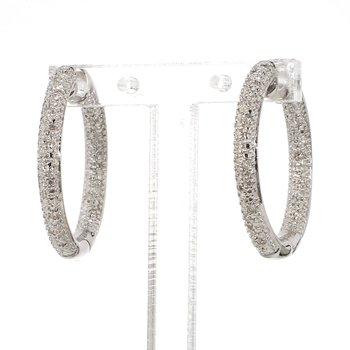 Round Pave Inside Out Diamond Earrings