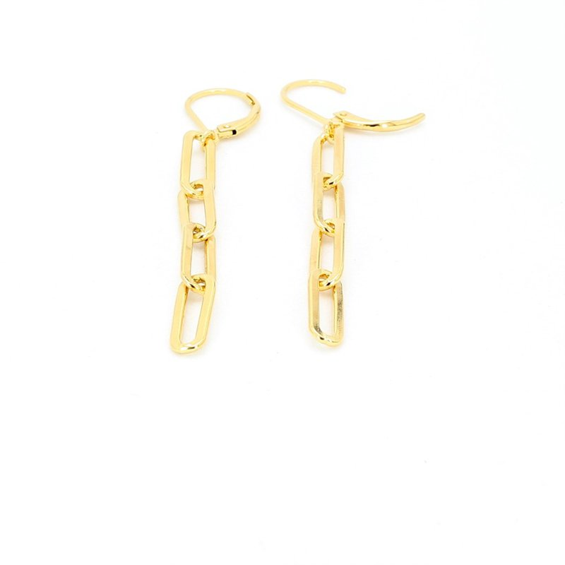 "Yellow Paper Clip Drop Earrings 2"" x 4.7mm"