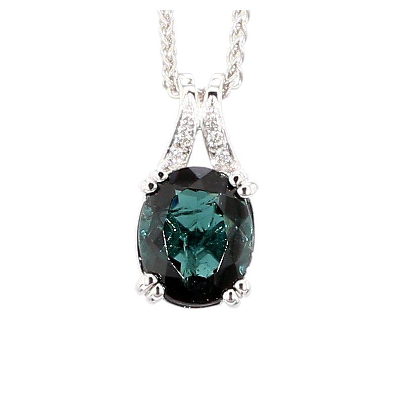 Green Tourmaline And Diamond Pendant